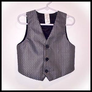 Little Boy's Suit Vest - Shiny Silver Pattern! 4T
